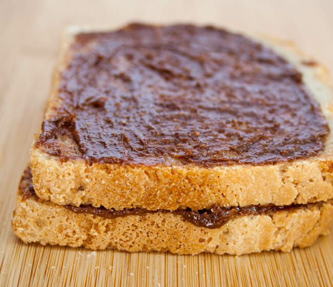 Gluten free bread with chocolate peanut butter spread.
