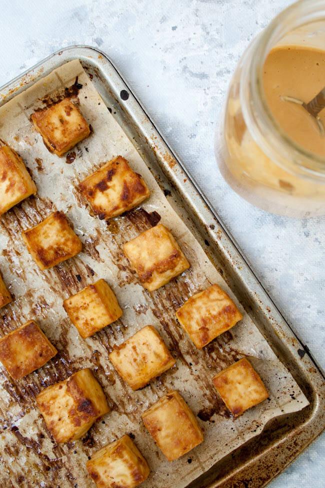 Crispy Baked Tofu with Peanut Sauce