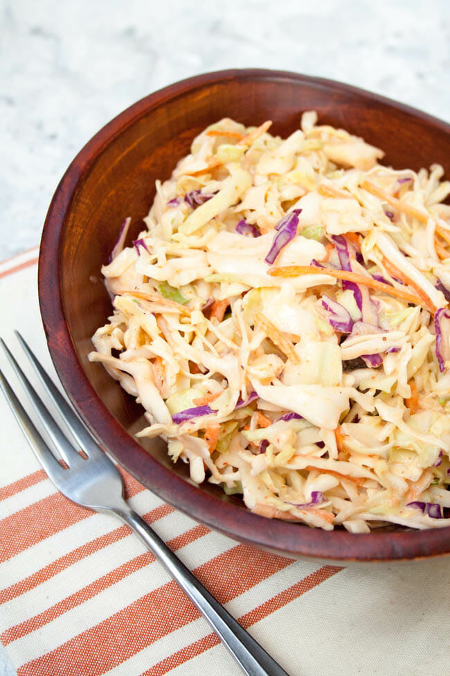 Sriracha Coleslaw with fork