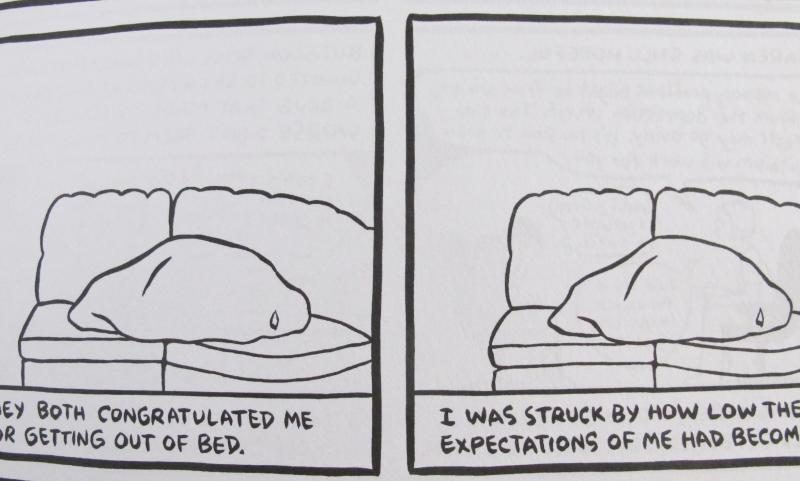 Excerpt - Cartoon of Woman under blanket contemplating people's low expectations of her