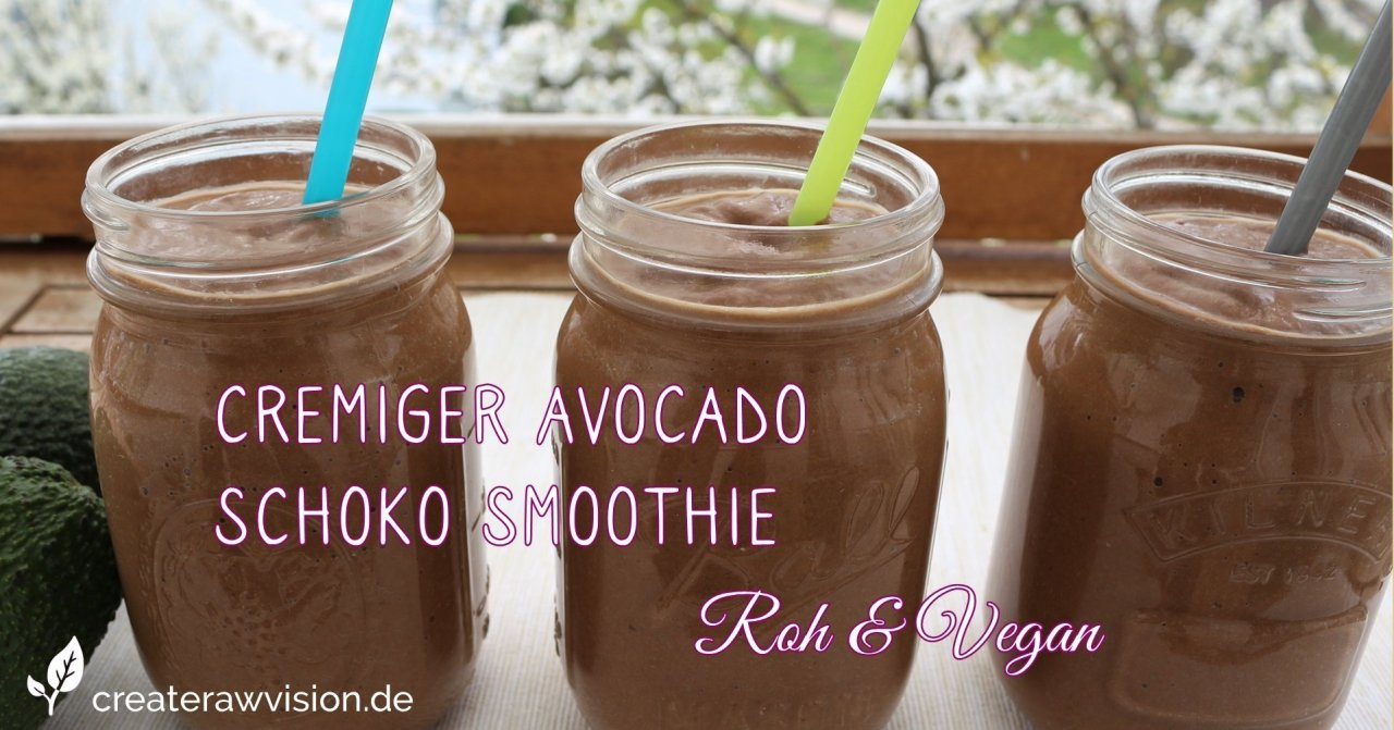 Avocado Schoko Smoothie Roh & Vegan