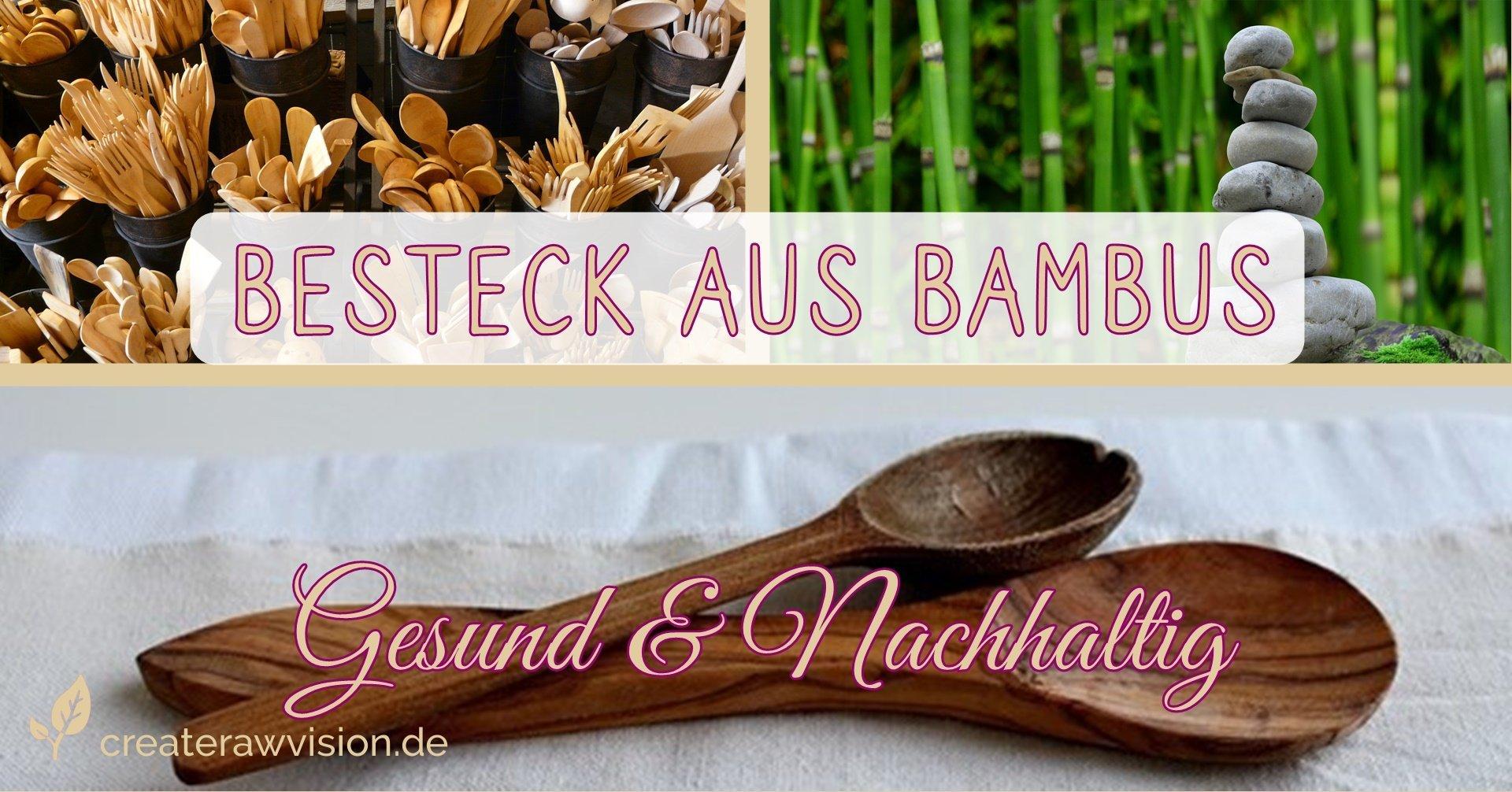 Besteck aus Bambus und Bambuspflanzen, davor Steine