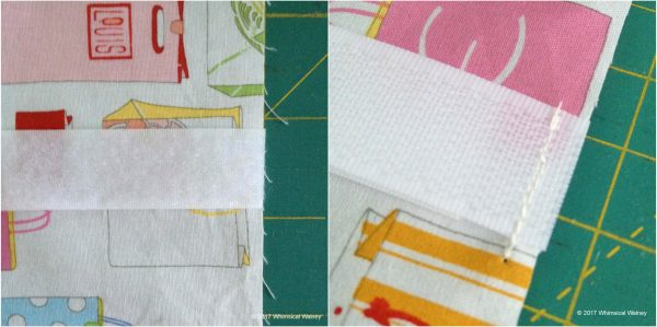 Baste hook-and-loop to right side of porta-a-cath fabric.