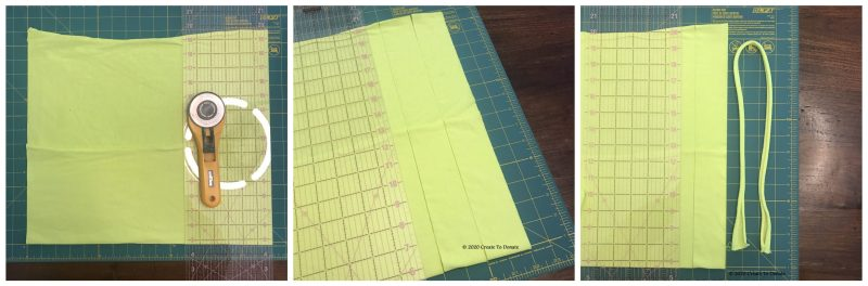 Make strands of t-shirt ties for masks by cutting a straight line.