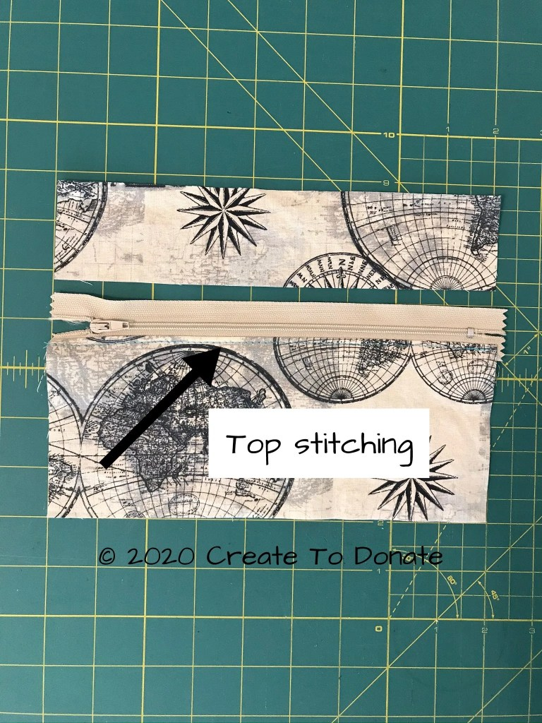 Zipper pocket pieces and top stitching