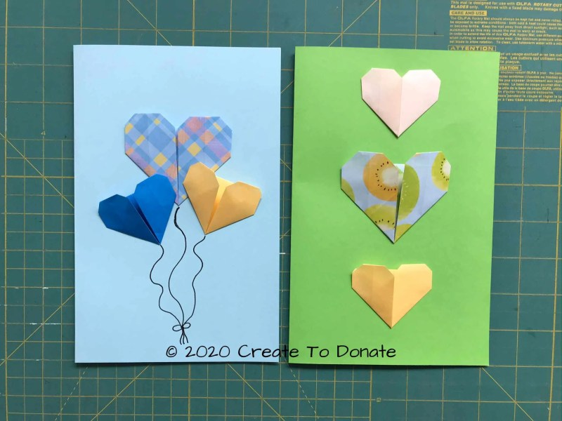 Origami heart card examples of sizes