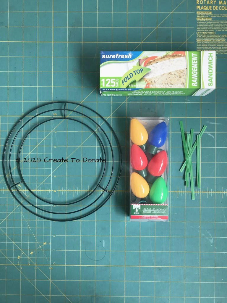 DIY holiday wreath lights materials