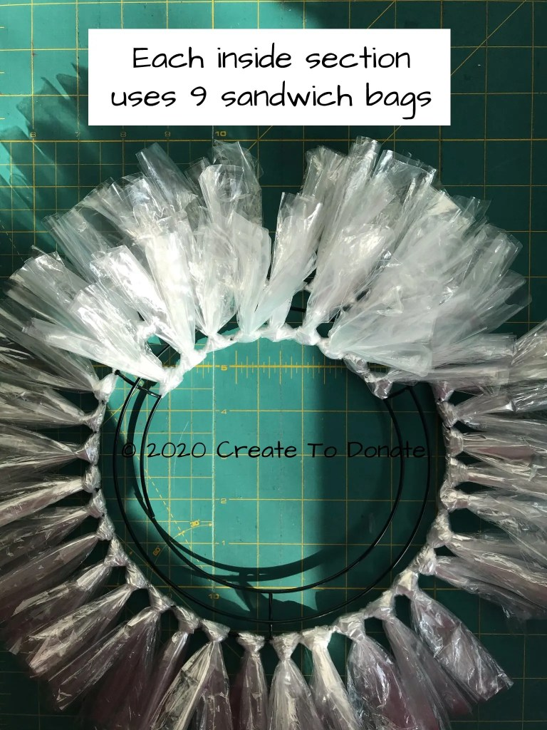 Inside section of DIY Dollar Tree wreath with baggies