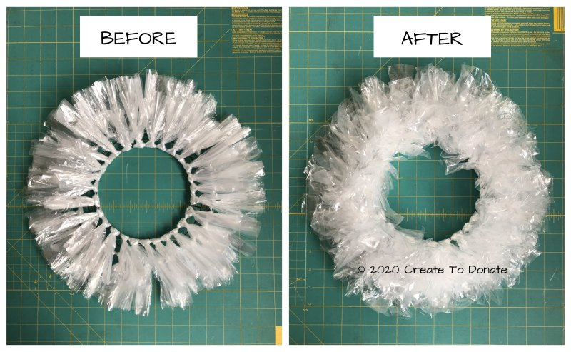 Open plastic bags to puff up wreath
