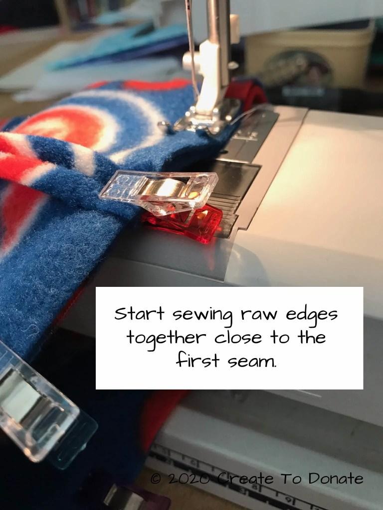 Sew raw edges close to original seam
