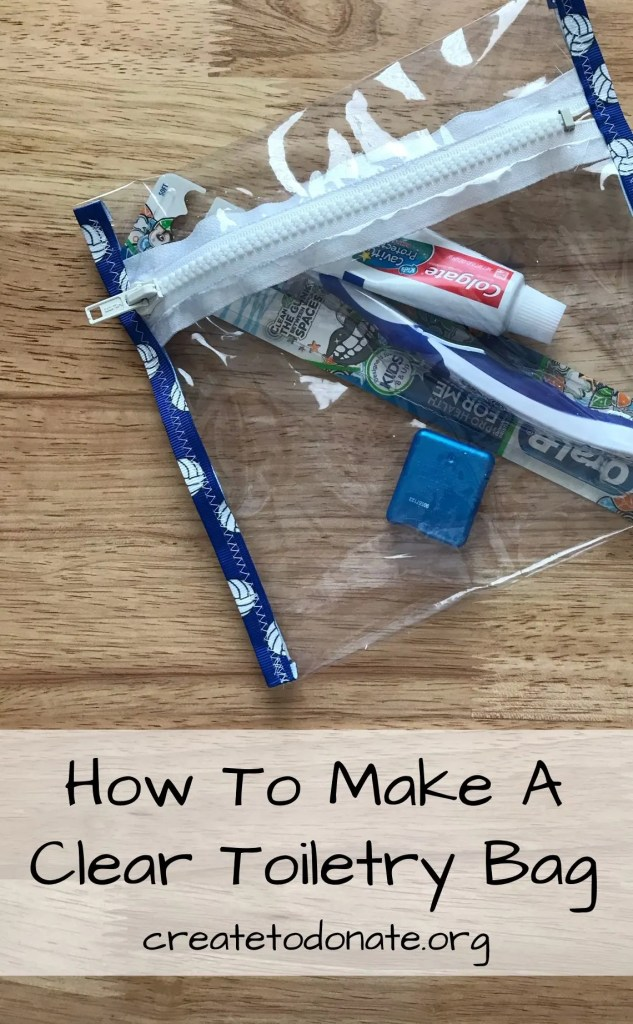 Clear toiletry bag with zipper tutorial pinterest image.