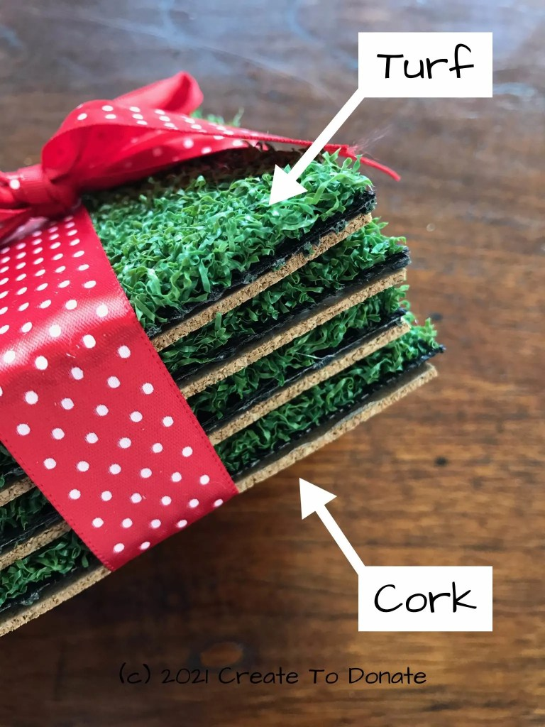 Drink coasters made from artificial turf and cork.