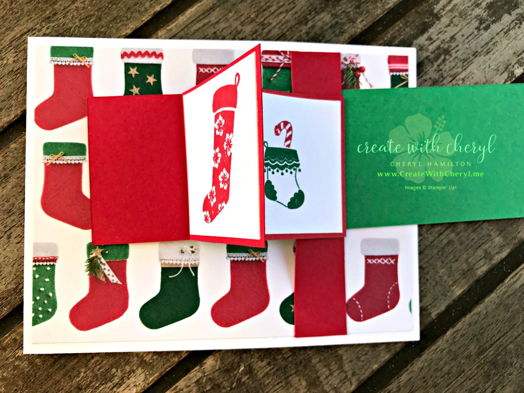 #createwithcheryl #stampinup #funfoldcards #waterfallcard #Hungwithcare #handmadecards #christmascards #cardtutorial