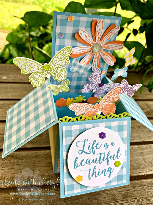 Card in a Box #createwithcheryl.me #papercrafts #cardinabox #popupcards #butterflies