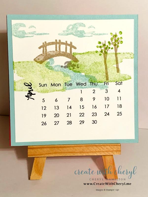 April 2020 Calendar#cherylhamilton #createwithcheryl #stampinup #rubberstamping #diy #crafts #papercrafting #handmadecards #papercrafter #craftblogger #simplestamping #mymeadow