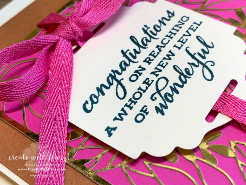 Cheryl Hamilton Magenta Madness Card with Forever Gold DSP and ribbon