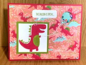 Shaker Card with dinosaur and balloon Cheryl Hamilton
