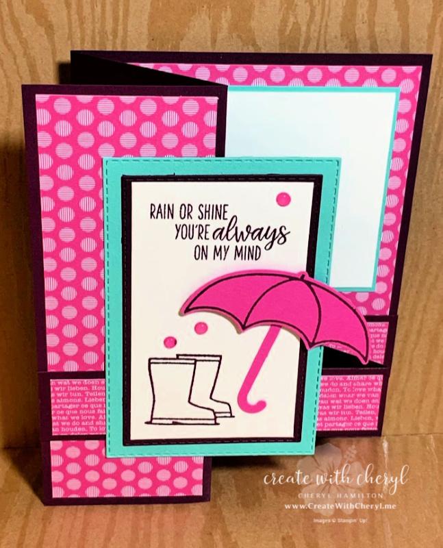 Cheryl Hamilton Magenta Madness Under My Umbrella Z-Fold Card