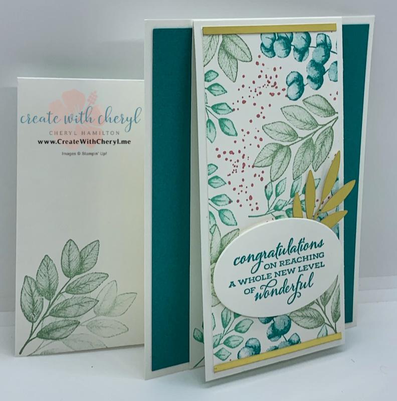 Blue green leafy card Cheryl Hamilton