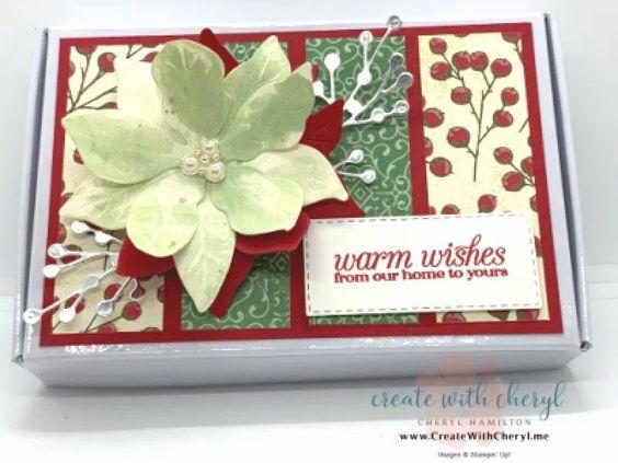 Poinsettia Petals Mini Paper Pumpkin Box #cherylhamilton