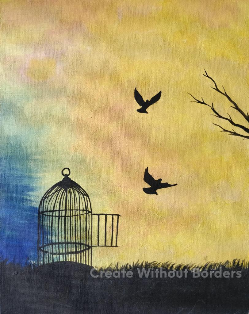 Freedom by Shahnaz, Afghanistan | Paintings by refugee artists