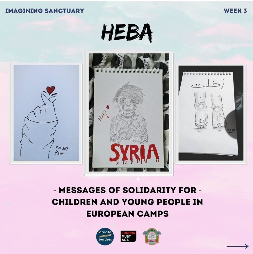 Three drawings by Heba, inspired by the experiences of child refugees