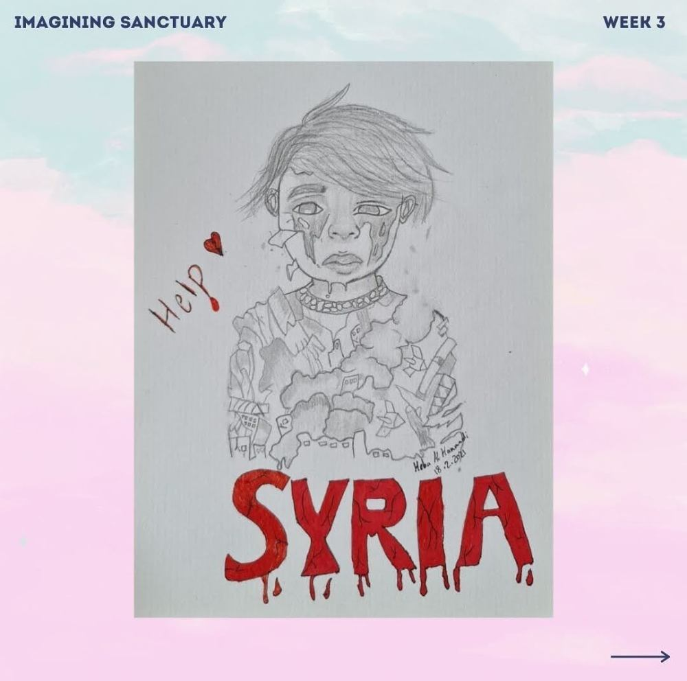 A drawing by Heba: Help the children of Syria. A child cries, their torso consisting of bombs, explosions and burning buildings.