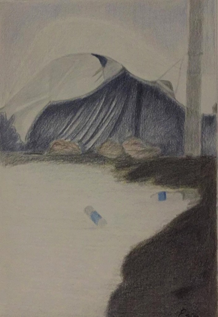 Drawing shows a tent of the kind found in migrant camps in Europe. The ground outside is strewn with empty water bottles. There appears to be a tear in the tent's roof and it looks on the verge of falling down.