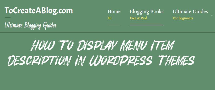 WordPress menu item description function