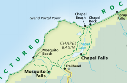 Trail map of Pictured Rocks National Lakeshore