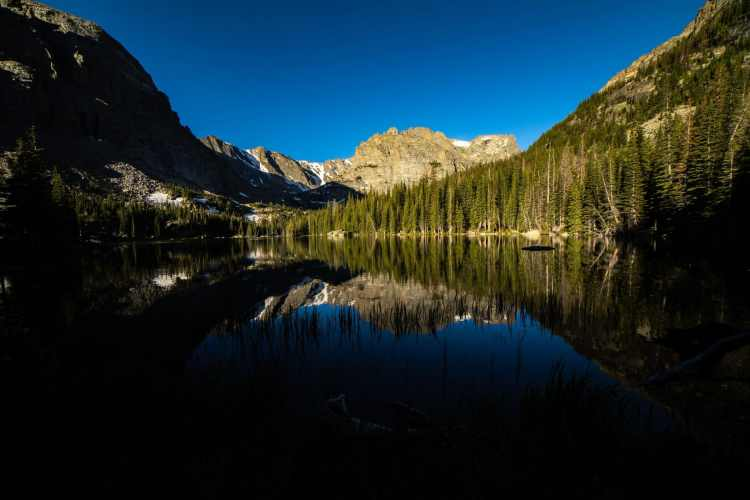 Reflection of the mountains in The Loch at Rocky Mountain National Park