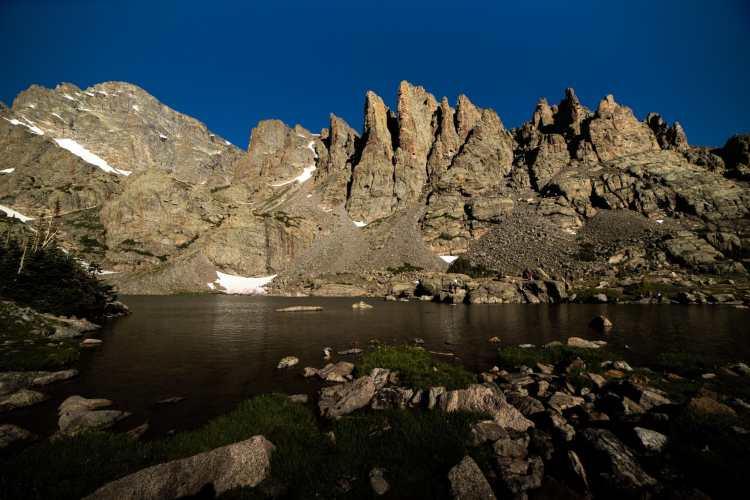 Sky Pond and Sharkstooth Peak