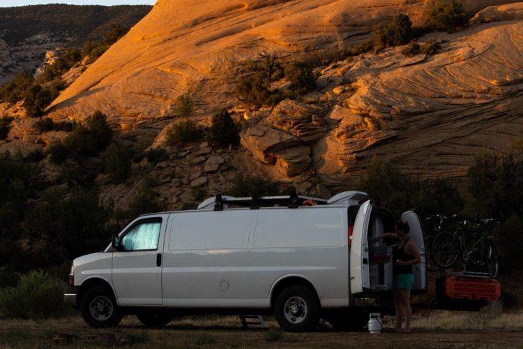 Chevy Express low roof van boondocking in Utah