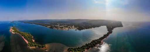 Aerial view of Copper Harbor Upper Peninsula Michigan