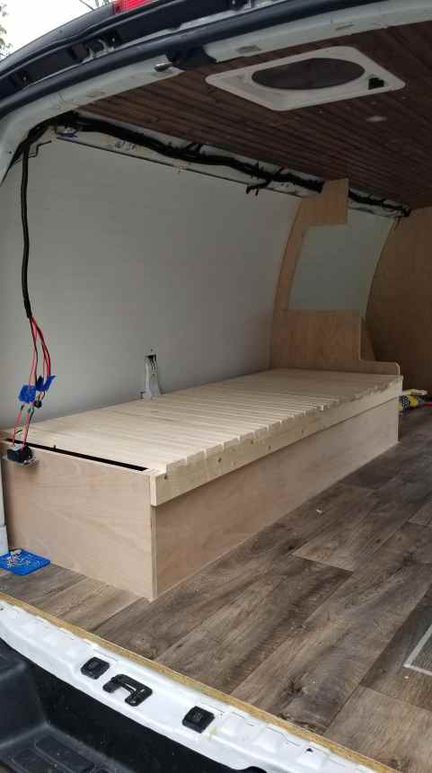 Cabinetry installation in a campervan conversion