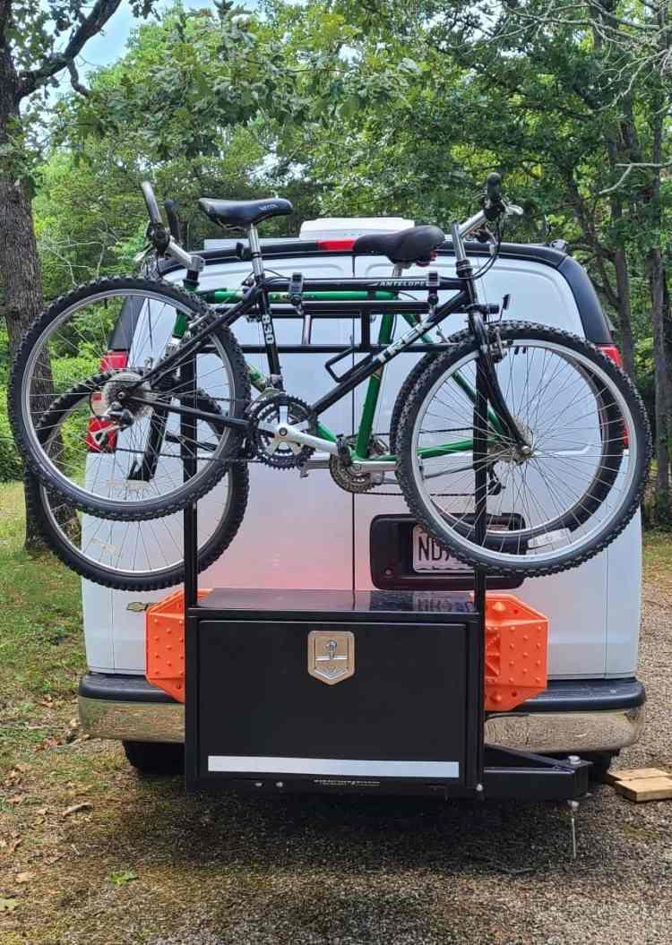 Custom Swinging Storage Box and Bike Mount for Vanlife