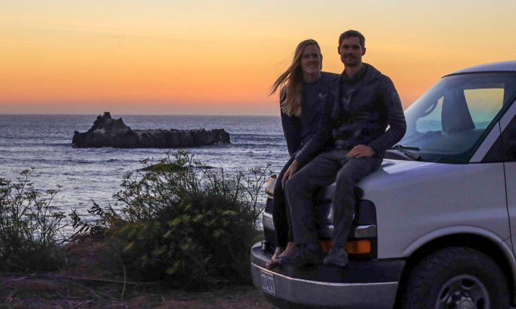 Sunset on the Lost Coast with Vanlife couple