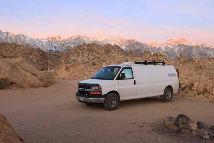 Campervan in front of mountains in Alabama Hills