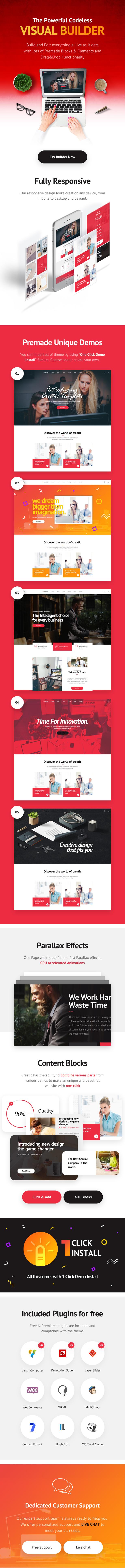 Creatic - One Page Creative Parallax WordPress Theme - 1