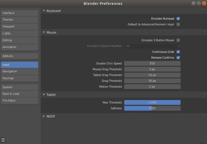 Blender user preferences: Emulate Numpad and Mouse