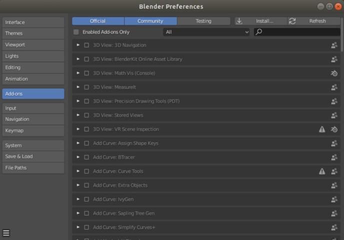 Blender user preferences: add-ons