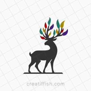Deer antlers leaves logo