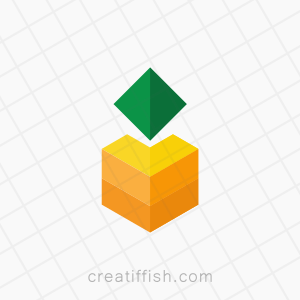 Minimalistic geometric pineapple fruit cube logo