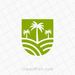 Palm tree farm field logo
