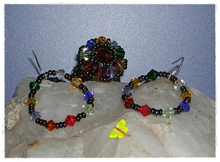 conjunto anillo y pendiente colorines