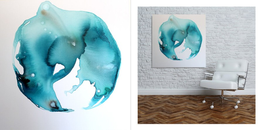 Fluid by Jules Tillman Unframed and in a Mockup Scene
