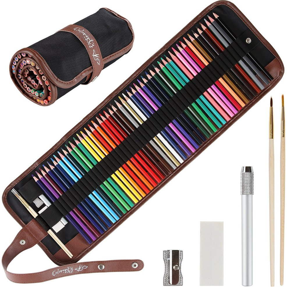 48 Vivid Artist Grade Watercolor Pencils and Case Set