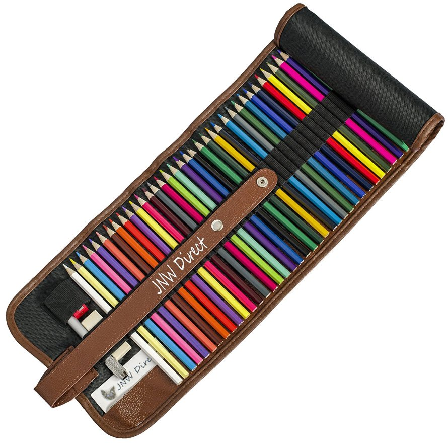 JNW Direct Colored Pencil set includes 48 beautiful colors with roll-up case and accessories