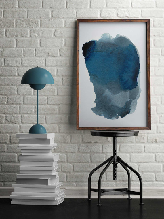 Abstract art you can buy on Etsy: Blue Abstract watercolor painting by Adri Luna