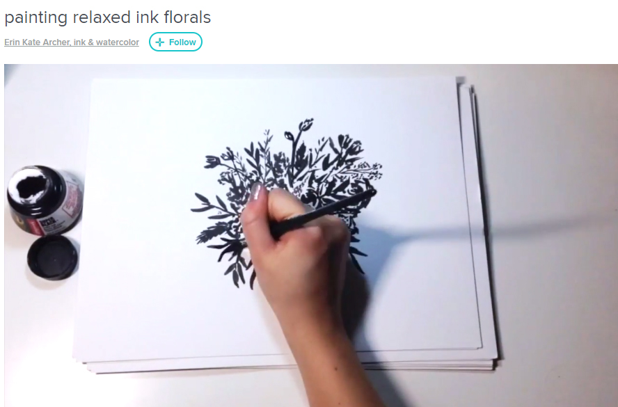 FREE DIY CLASS: Painting relaxed ink florals by Erin Kate Archer